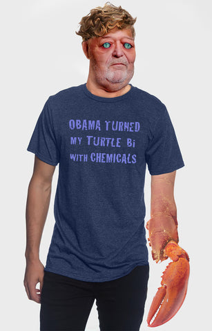 """OBAMA TURNED MY TURTLE Bi"" T-SHIRT"
