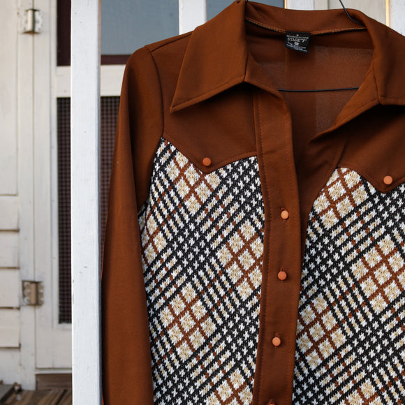 Brown and Plaid Polyester Button Up