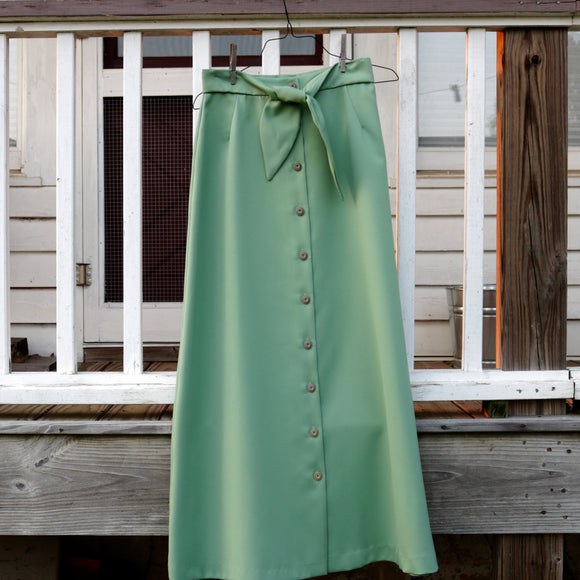 Green Polyster Long Skirt