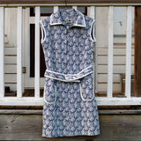 Navy and White Polyester Dress