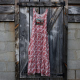 Red and White Floral Ruby Dress Maxi