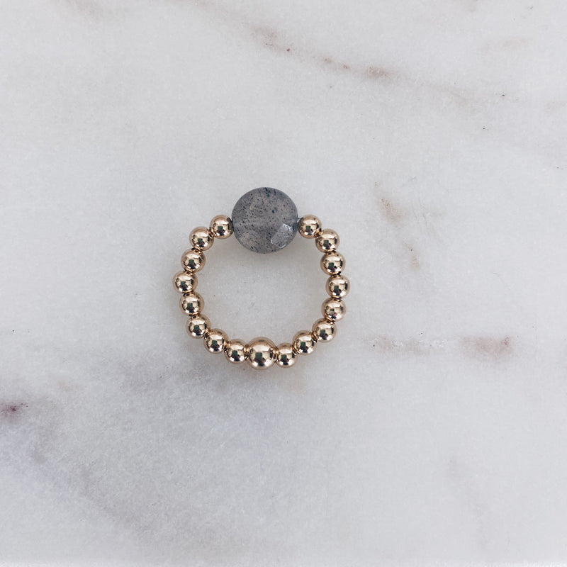 MAC & RY JEWELRY - 14K GOLD FILL BEADED LABRADORITE COIN RING