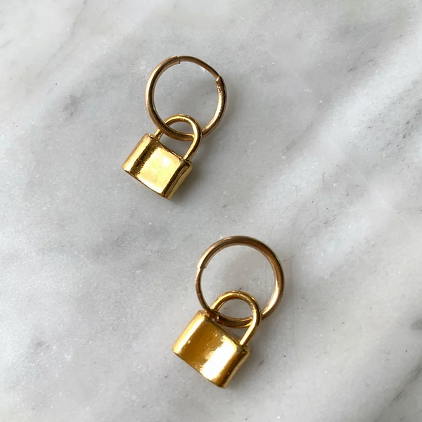 LUSH JEWELRY - MINI PADLOCK HOOPS