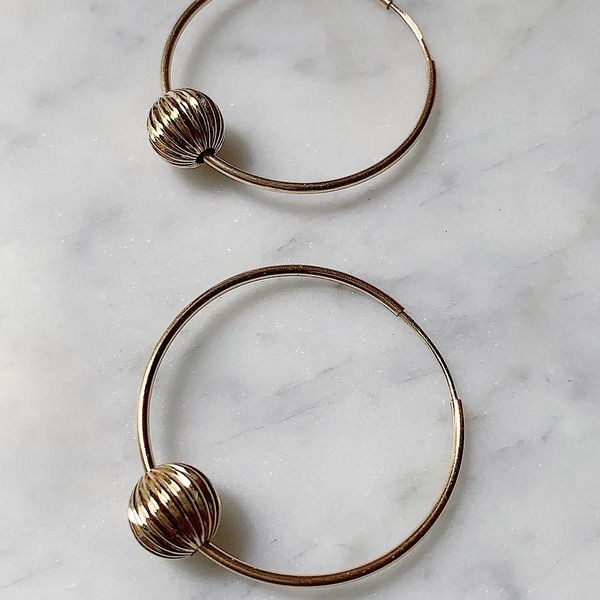 LUSH JEWELRY - CORRUGATED BEAD HOOPS
