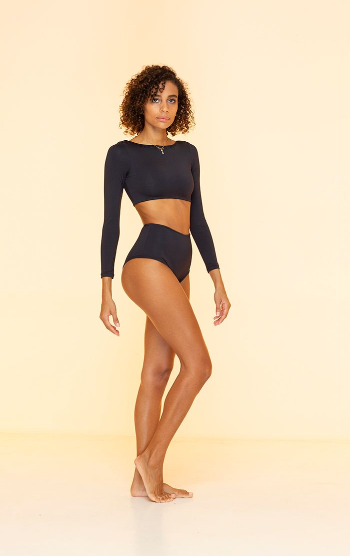 INDAH CLOTHING - HANALEI SOLID LONG SLEEVE SEAMLESS CROP