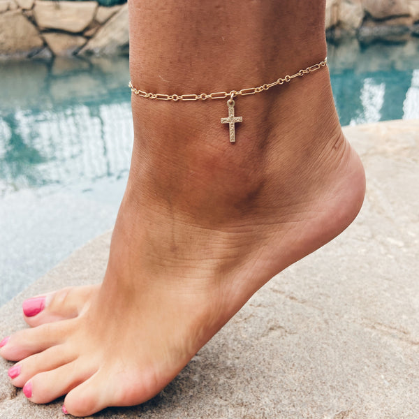 MAC & RY JEWELRY - 14K GOLD FILLED CROSS ANKLET