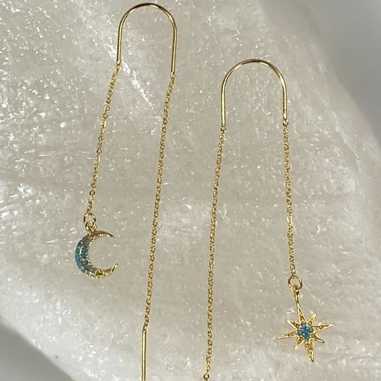 M.E.A. DESIGNS - TURQUOISE STAR & MOON HOOK CHAIN DANGLES