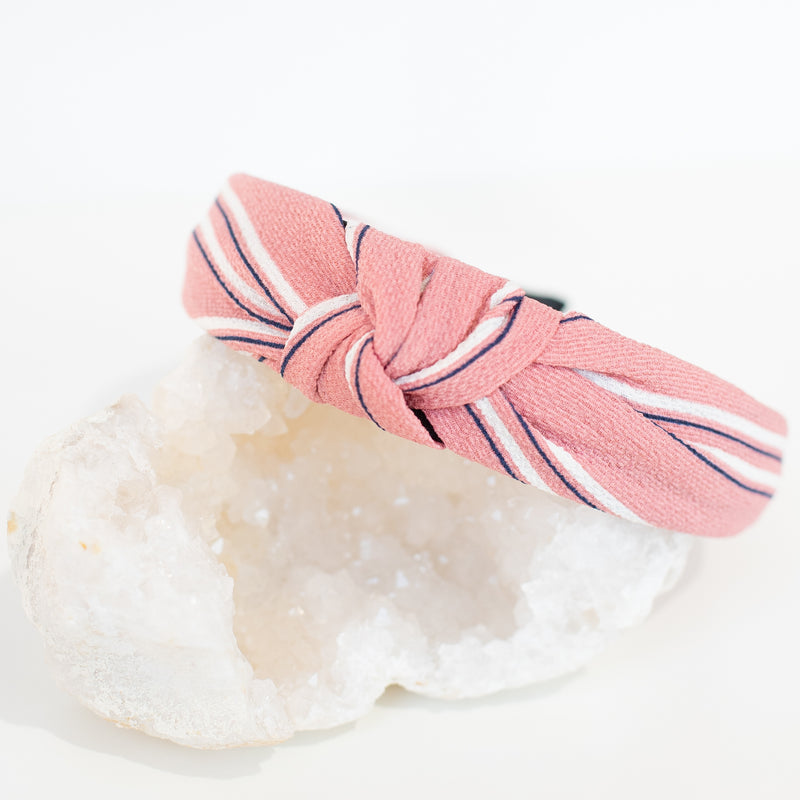 & EVERYTHING NICE BEBE - PINK AND WHITE STRIPE HEADBAND