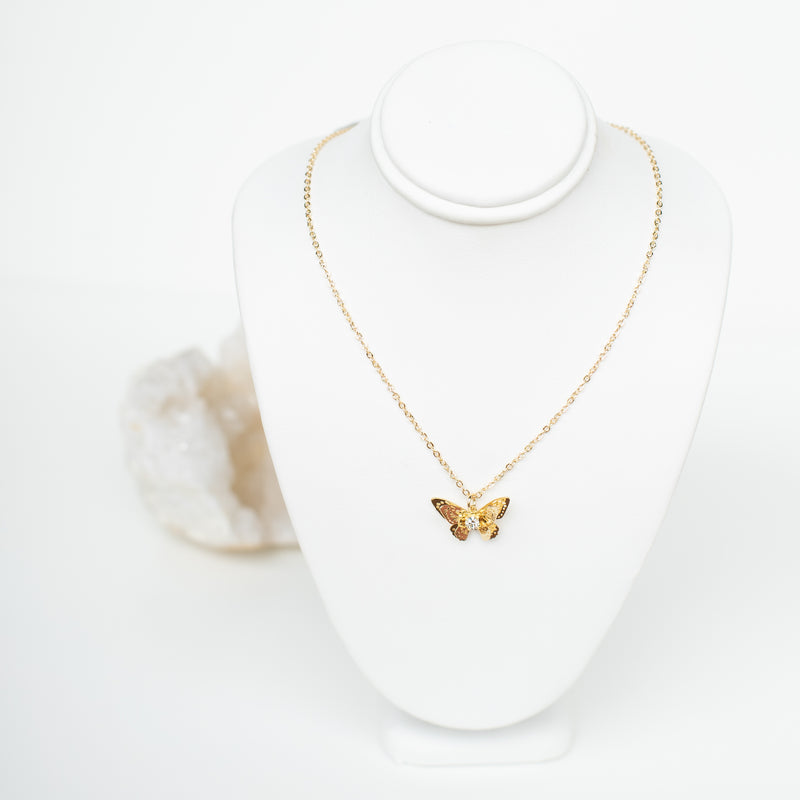 RAPTOR JEWELRY - CZ LAYERED GOLD BUTTERFLY NECKLACE
