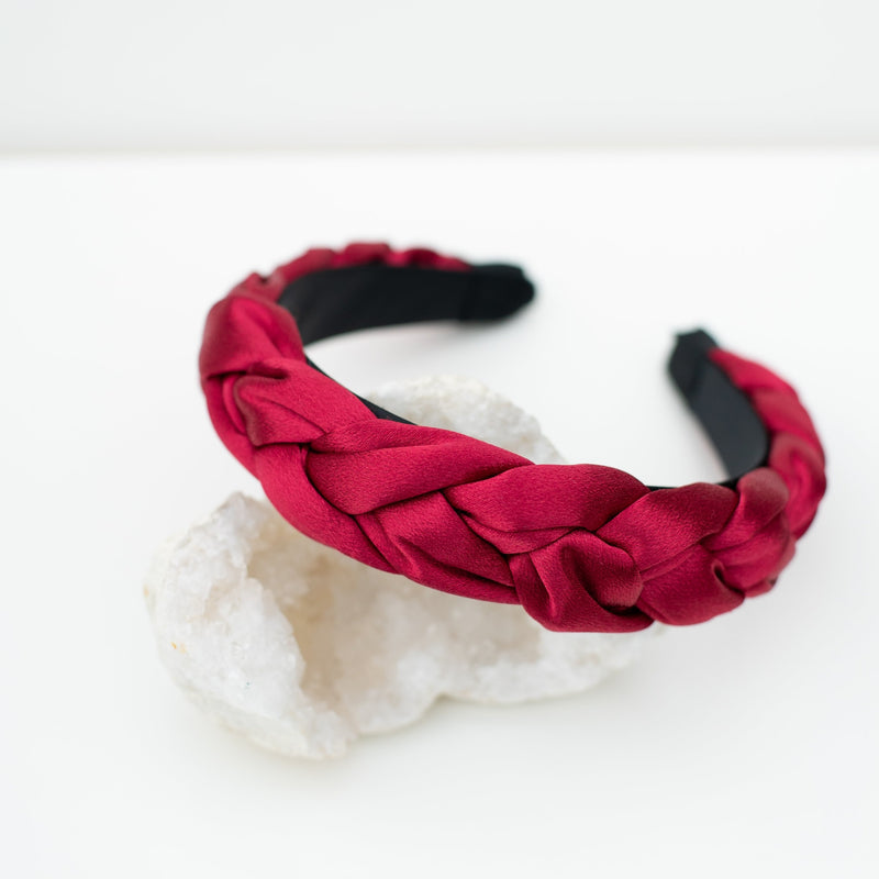 & EVERYTHING NICE BEBE - BURGUNDY BRAIDED HEADBAND