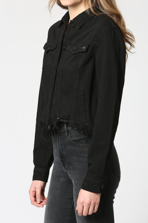 HIDDEN - CROPPED FITTED JACKET WITH FRAY