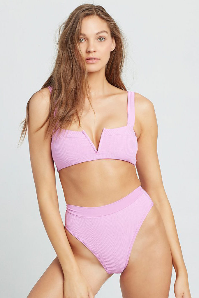 L*SPACE - POINTELLE RIB LEE LEE BIKINI TOP