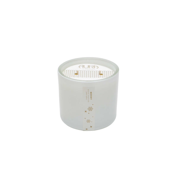 AURA CANDALS - MERRY WHITE GLASS 2 WICK