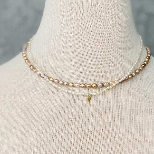 SAND + GRIT - TINY RICE PEARL NECKLACE