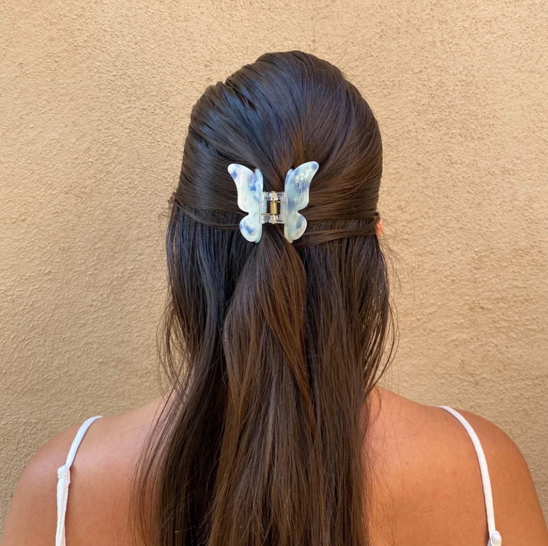 SUMMER BUNS - WHITE BUTTERFLY HAIR CLIP