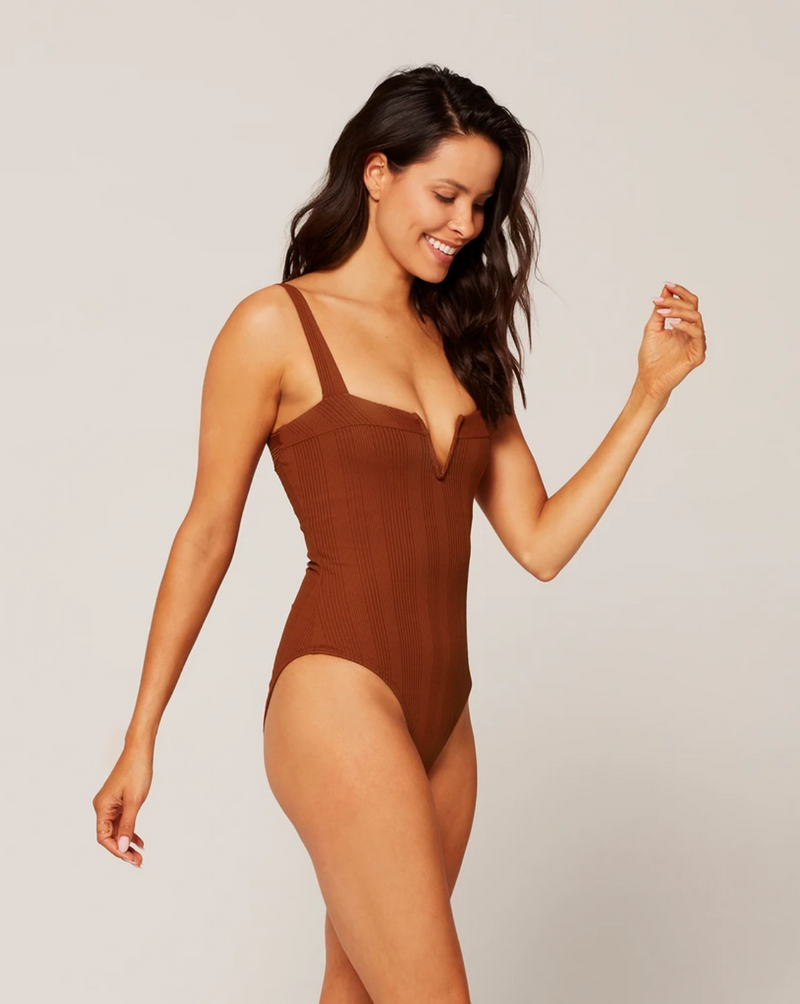 L*SPACE - POINTELLE RIB CHA CHA ONE PIECE SWIMSUIT