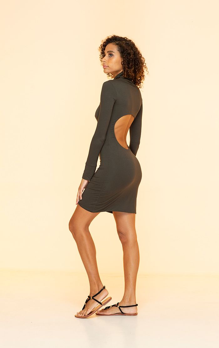 INDAH CLOTHING - NO. 77 SOLID SEAMLESS TURTLE NECK MINI DRESS WITH OPEN BACK