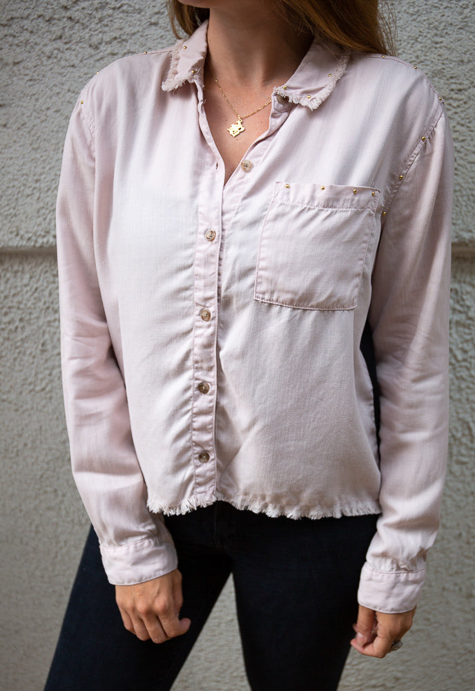 BOBBIROX - PINK + BLACK LUXE TENCEL BUTTON DOWN