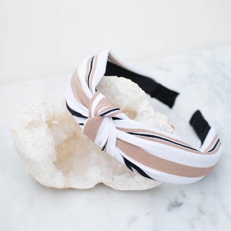 & EVERYTHING NICE BEBE - BROWN, WHITE, AND BLACK STRIPED HEADBAND