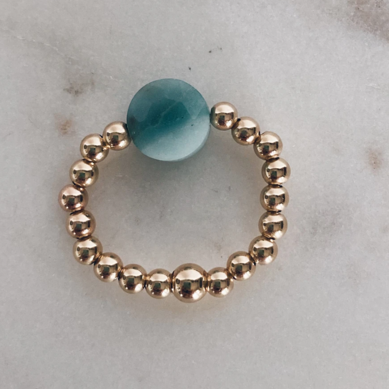 MAC & RY JEWELRY - BEADED AMAZONITE COIN RING