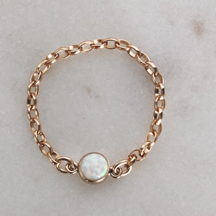 MAY & RY JEWELRY - 14K GOLD FILL CHAIN & OPAL RING