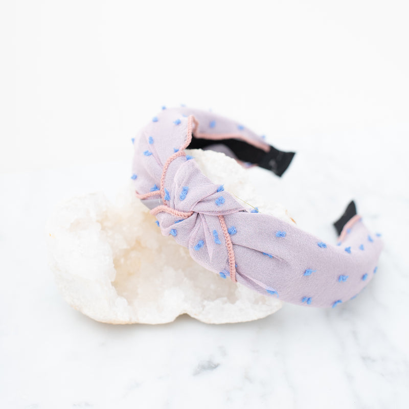 & EVERYTHING NICE BEBE - PURPLE AND BLUE DOTTED HEADBAND