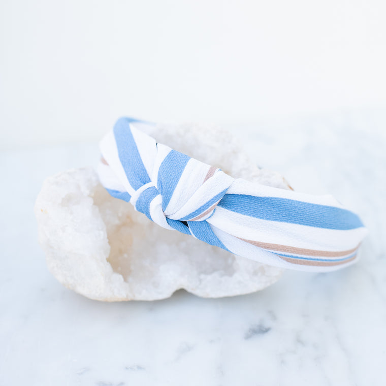 & EVERYTHING NICE BEBE - WHITE, BLUE, AND BROWN STRIPED HEADBAND