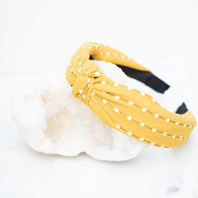 & EVERYTHING NICE BEBE - YELLOW AND WHITE DOTTED HEADBAND