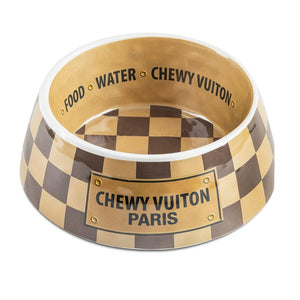 Chewy Vuiton Dog Bowl - Checkered