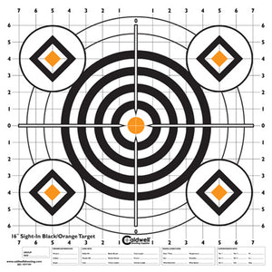 "Sight-In Target 16"" (Per 10) Black and Orange"