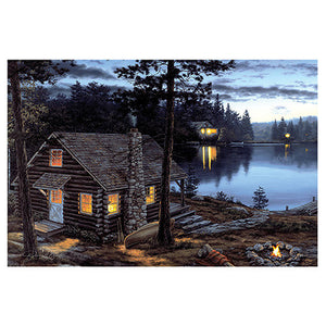 "24""x16"" LED Wall Art Life's Rewards Cabin"