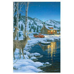 "24""x16"" LED Wall Art Cabin with Deer"