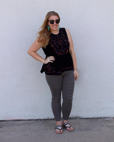 Plus size black embroidered blouse