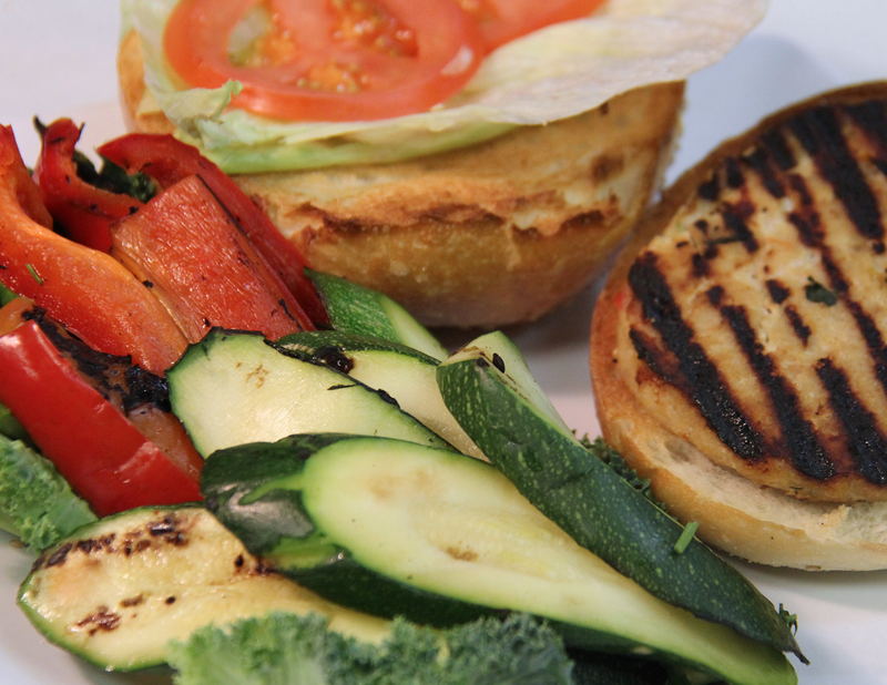 Grilled Vegetable Chicken Burger