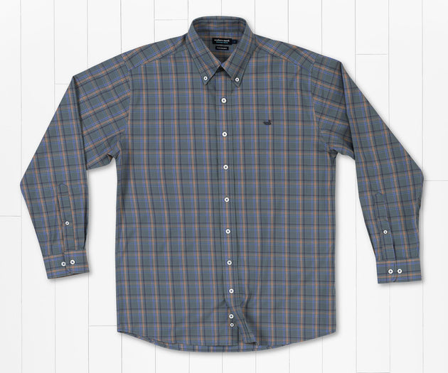 Southern Marsh Bristol Performance Plaid Dress Shirt Sage
