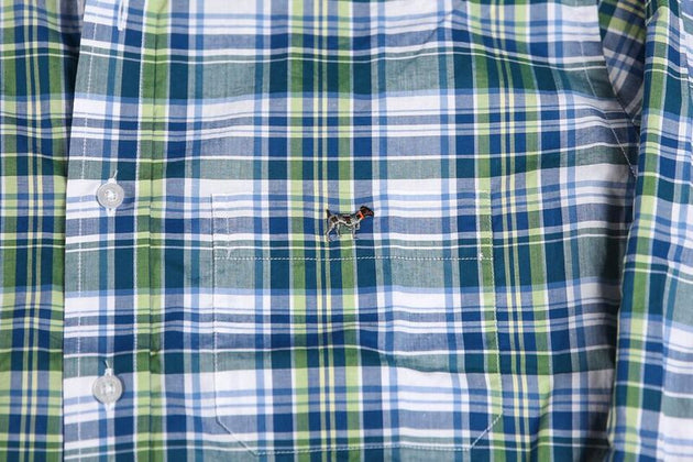 Southern Point Summer Lime Plaid Shirt
