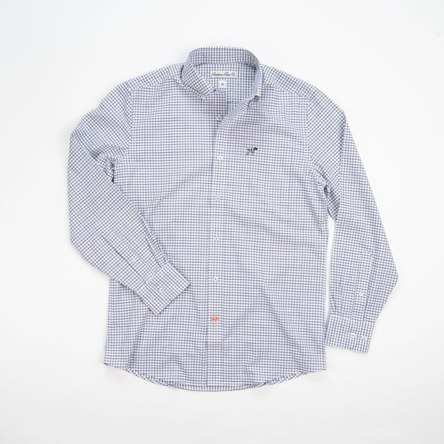 Southern Point Stretch Hadley Check Shirt White