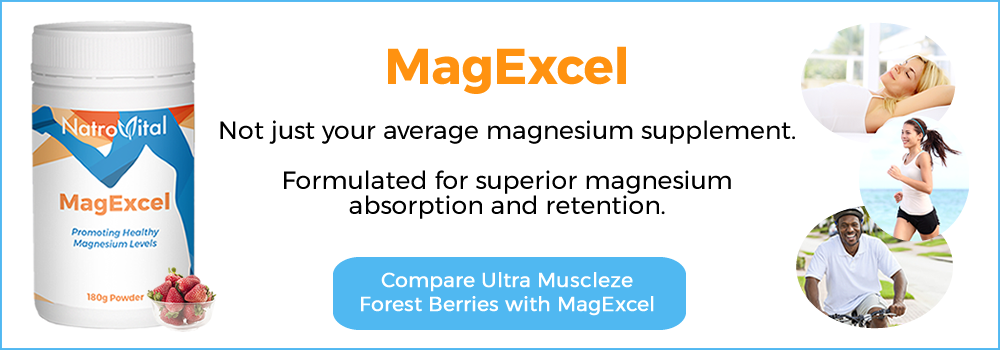 NatroVital MagExcel vs BioCeuticals Ultra Muscleze Forest Berries Comparison Table