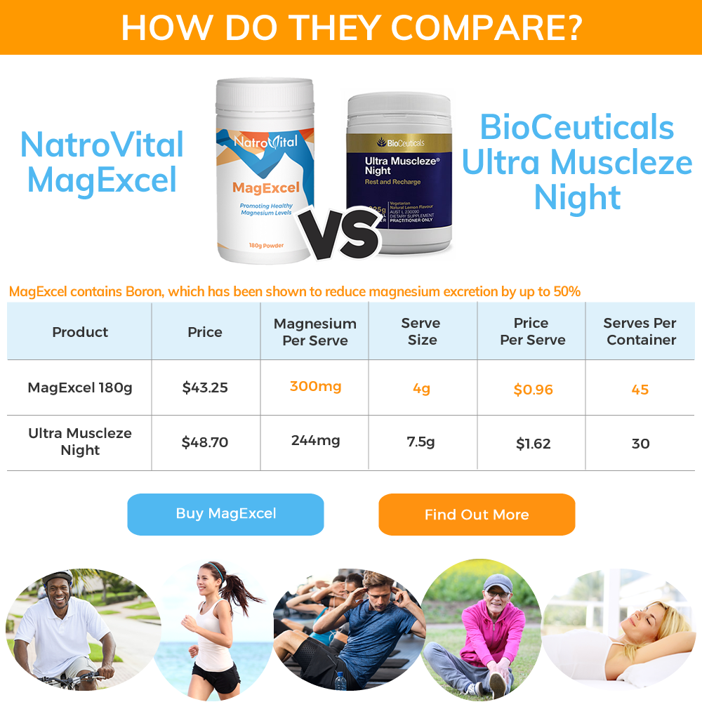 NatroVital MagExcel vs BioCeuticals Ultra Muscleze Night Comparison Table