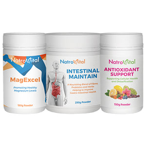 three bottles of NatroVital branded natural supplements