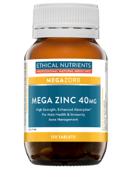 Ethical Nutrients Mega Zinc 40mg 120 Tablets | Vitality and Wellness Centre