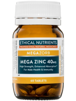 Ethical Nutrients Mega Zinc 40mg 60 Tablets | Vitality and Wellness Centre
