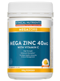 Ethical Nutrients Mega Zinc Orange 190g Powder | Vitality and Wellness Centre