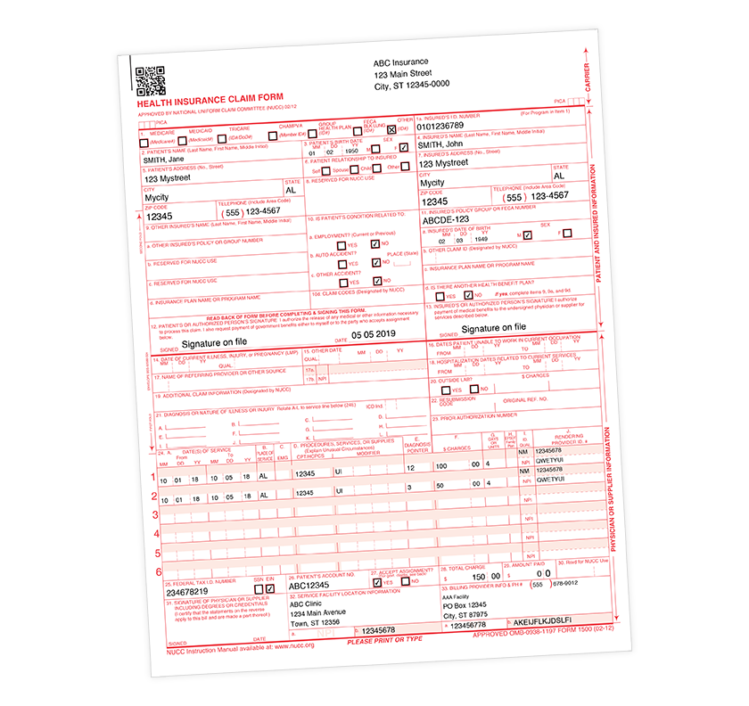 image regarding 1500 Claim Form Printable titled Cost-free Fillable CMS 1500 Template and Content - Blue