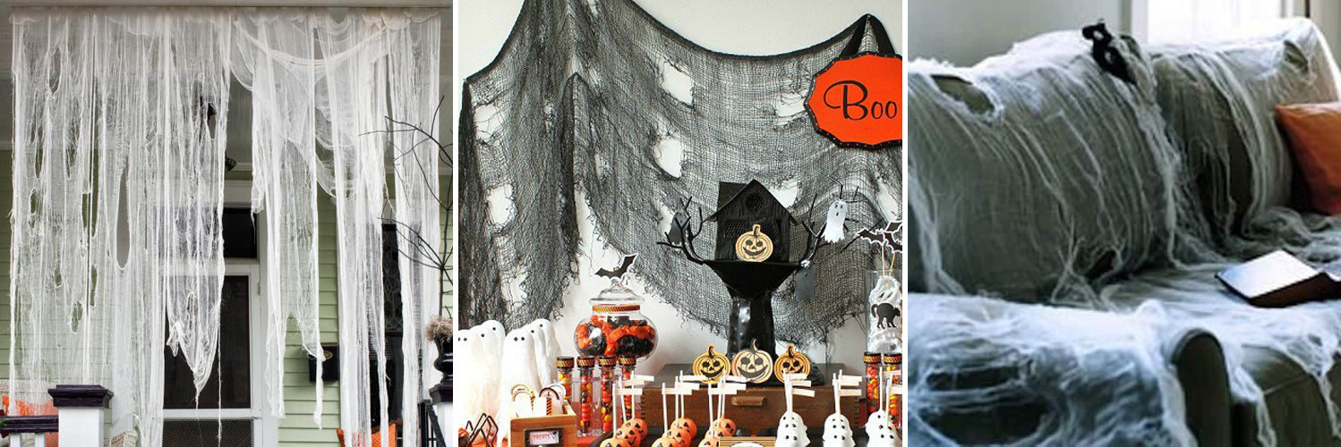 Decorating Office for Halloween with Cheesecloth