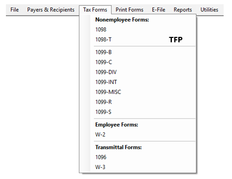 Creating a Form in TFP software