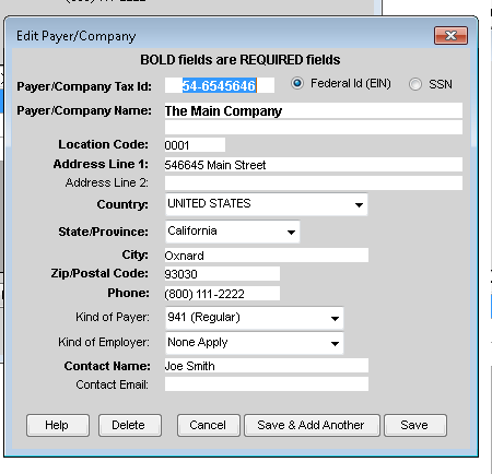 Edit Payer/Company in TFP Software