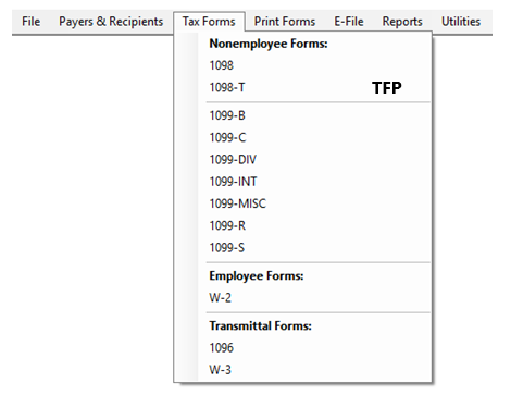 Editing recipients in TFP software