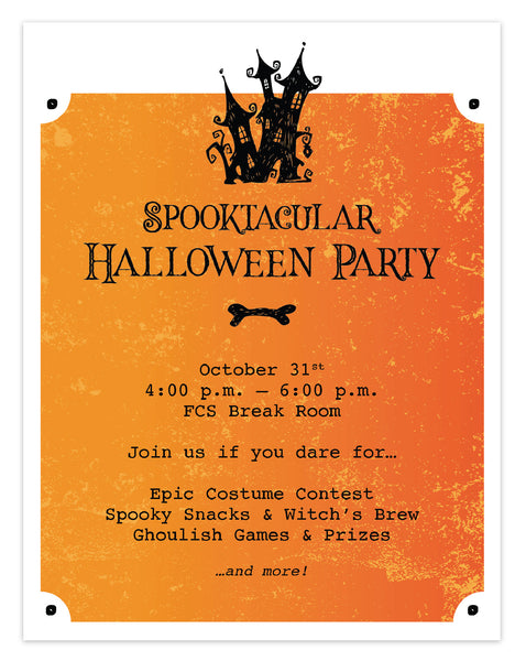 Free printable Halloween office party invitation