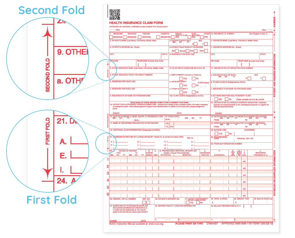 image about Cms 1500 Form Printable identified as No cost Fillable CMS 1500 Template and Content - Blue